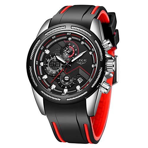 LIGE Relojes Hombre Cronógrafo Analógico Cuarzo Silicona 3ATM Impermeable Multifunción Deportivo Reloj Hombre Calendario Grande Redondo Negro con Esfera Gents Reloj de Pulsera