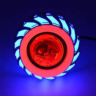 Andux Land Angel Devil Eyes Motorcycle/Car Hi/Low Beam LED Projector Headlight EMY-03 (Blue/Red Halo)