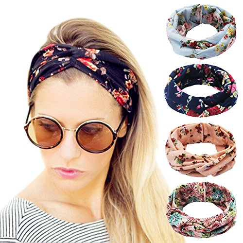 Ordenado 4 Pack Women's Headbands Elastic Turban Head Wrap Floal Style Hair Band