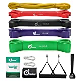 Odoland 5 Packs Pull Up Assist Bands, Pull Up Straps, Resistance Bands with Door Anchor and Handles,...