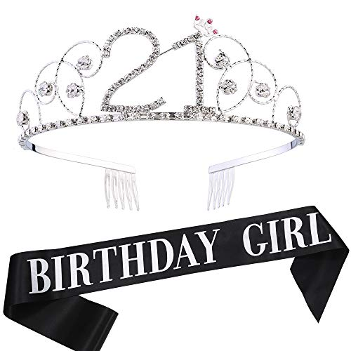 Coucoland Geburtstag Krone mit Geburtstag Schärpe Satin Birthday Crown and Sash Set Geburtstagsdeko Geschenk für Damen Geburtstag Party Accessoires (21 Jahre alt - Silber)