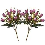 2 Ramo de Tulipanes Artificiales, Flores Artificiales para Hogar, Boda, Jardín, Fiesta, Mesa Decoración, Manualidades, Interior y Exterior (Púrpura)