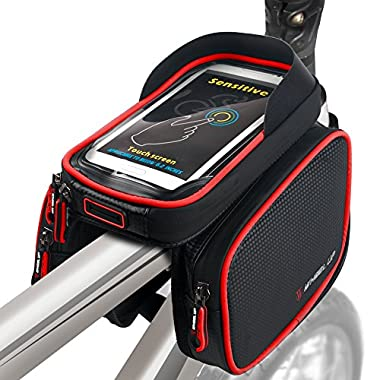Bike Frame Bag Bicycle Top Tube Bag Cell Phone Bag Waterproof Sensitive Touch Screen (Black-Red)