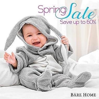 Bare Home Fitted Bottom Sheet Premium 1800 Ultra-Soft Wrinkle Resistant Microfiber, Hypoallergenic, Deep Pocket (King, Grey)