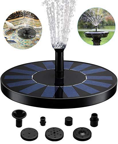Solar Springbrunnen, 2020 Upgrade 1,4W Solarbrunnen mit 5 Effekte, Outdoor Wasserpumpe Solar Schwimmender Fontäne Pumpe für Gartenteich Oder Springbrunnen Vogel-Bad Fisch-Behälter