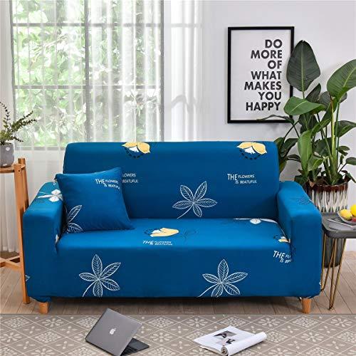 Housses de Canapé 1 2 3 4 Places Extensible, Morbuy Imprimé d'angle Accoudoirs en Forme de L Revêtement de Canapé Sofa Elastique Couverture Protecteur (Feuilles Bleues,1 Place)