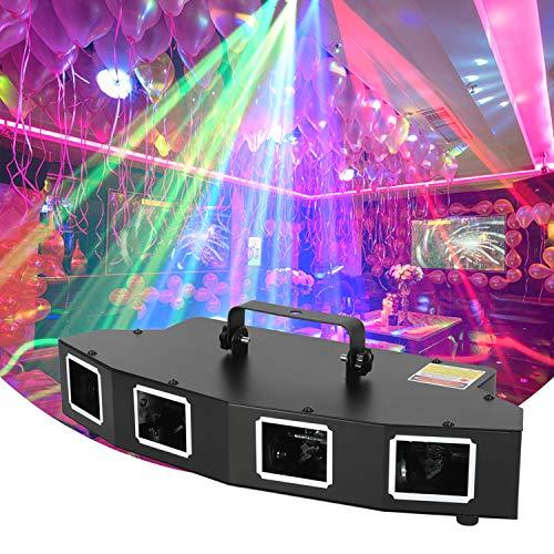 Luces de discoteca, luz estroboscópica profesional de 4 ojos RGBY con 4 modos de control, iluminación de escenario para fiestas, KTV, bares, discotecas, karaokes, bodas