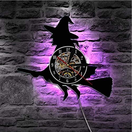 Regalo Reloj de pared de vinilo Reloj de registro de brujas Reloj vintage Reloj de cuarzo silencioso Reloj de pared Regalos personalizados hechos a mano para niños y adultos 12 pulgadas con LED-12 pul