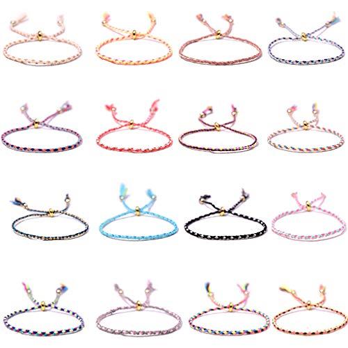 tiantianchaye 16 pulseras trenzadas hechas a mano para mujer, cordón de muñeca ajustable, regalo de cumpleaños, regalos de fiesta
