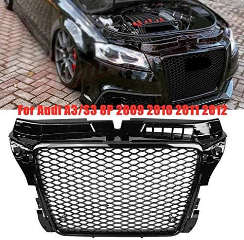 ZQTG RS3-Stil Hex Mesh Honeycomb Hood Kühlergrill Grill Grille für Audi A3/ S3 8P 2009 2010 2011 2012, Auto Stoßstange Kühler dekorative Modifikation Ersatz, glänzend schwarz