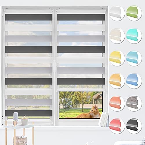 HOMEDEMO Doppelrollo Klemmfix ohne Bohren, (Weiss-Grau-Anthrazit, 80x130cm) Duo Rollo Klemmrollo lichtdurchlässig, Fensterrollo Sichtschutz