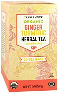 Trader Joe's Organic Ginger Turmeric Herbal Tea 20 tea bags (Pack of 3)