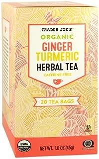 Trader Joe's Organic Ginger Turmeric Herbal Tea 20 tea bags (Pack of 3)