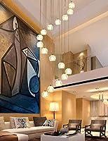 16個のガラス玉ロングシャンデリアスパイラルマルチライト階段リビングルームレストランシャンデリアガラスシェード用ペンダントライト(室内装飾照明(電球を除く))