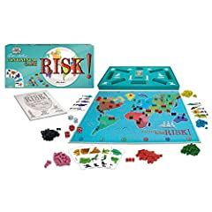 CLASSIC RISK! A strategy board game of diplomacy, conflict and conquest. Played on a board depicting a political map of the earth, divided into forty-two territories, grouped into six continents THE RIGHT MOVES: Players control armies of playing piec...