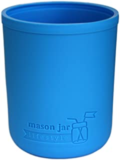 Wide Mouth Pint 16oz Silicone Sleeves/Jackets for Protecting Ball, Kerr, Canning Jars by Mason Jar Lifestyle (Bright Blue,...