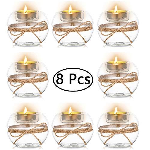 Nuptio Portavelas Tealight de Vidrio Transparente de 8 Piezas, 2 Tipos de Uso Portavelas Votivo, Decoracion de Mesa Regalo Ideal para Bodas, Fiestas, Eventos
