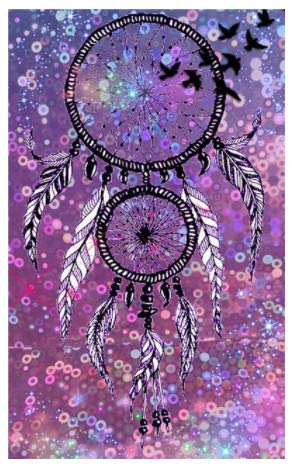 LILIANG Diy 5D Pushpin Painting Cross Stitch Kits Feather Dream Catcher Mosaic Handmade Embroidery Home Decor Gifts (Color : Black border, Size : 24 in)