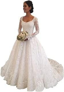 Princess Long Sleeve Empire Waist Lace Wedding Dresses Birdal Gown
