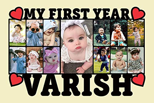 GiftShalamemories Baby Photo Frame for 12 Months, with customised Name and Photos (Medium)