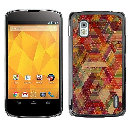 // PHONE CASE GIFT // Duro Estuche protector PC Cáscara Plástico Carcasa Funda Hard Protective Case for LG Nexus 4 E960 / Neon Geometría /