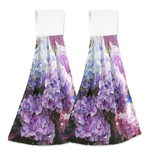 Oarencol Toallas de cocina de hortensias, color rosa, azul, primavera, flores moradas, absorbentes, para colgar, con bucle, para baño, 2 unidades