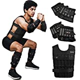 LEKÄRO 45LB Adjustable Weighted Vest Set with Arm Weights and Leg Weights, Weight Training Workout Sut, Fitness Boxing Jacket & Wrist Weights & Ankle Weights (Including Weights: 100 steel plates)