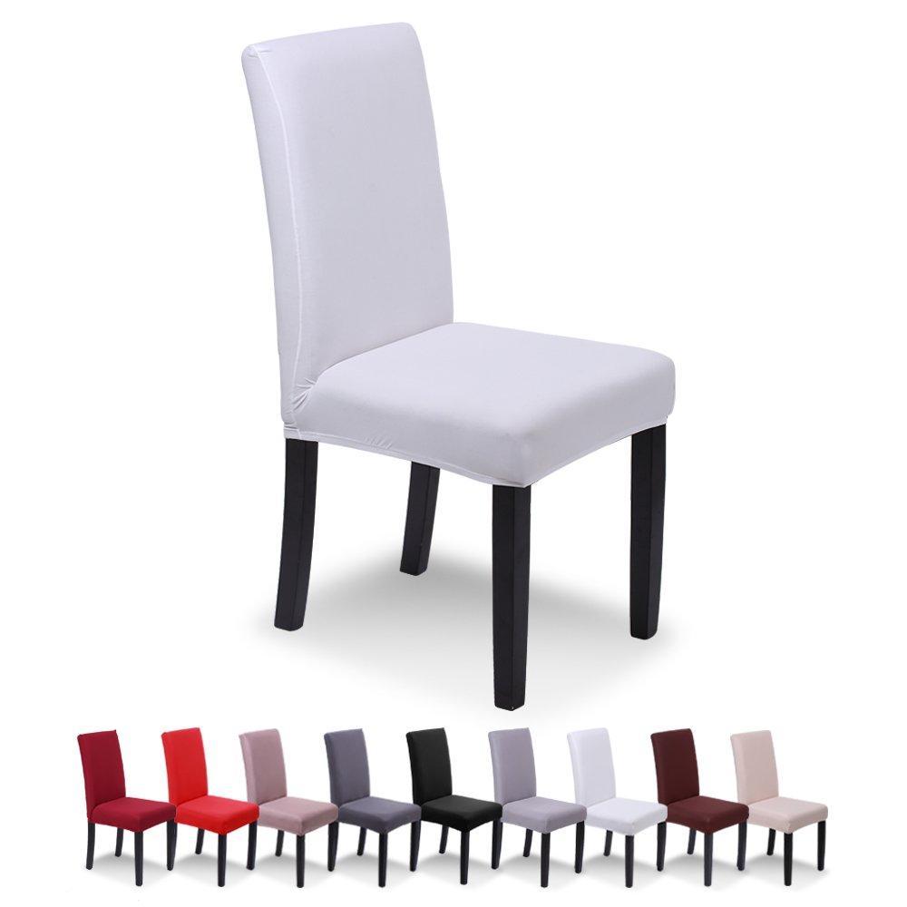 SaintderG® Fundas para sillas Pack de 4 Fundas sillas Comedor, Lavable Extraíble Funda, Muy fácil de Limpiar, Duradera Modern Bouquet de la Boda, Hotel, Decor Restaurante (Blanco, Pack de 4): Amazon.es: Hogar