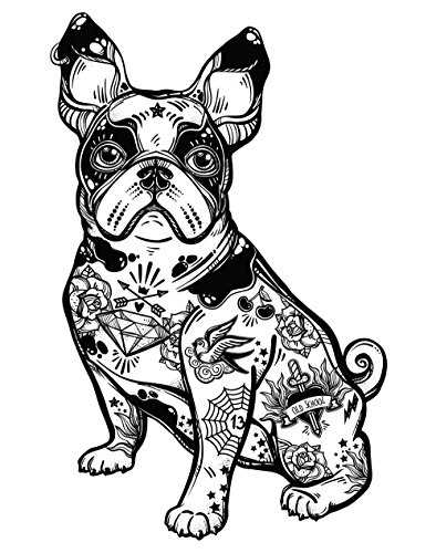 Oedim Pack 5 Pegatinas Coche Bulldog Francés Tatuado 13 x 20 cm | Adhesivo de...