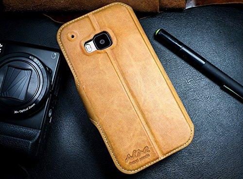 Akira Handmade Original Premium Echtleder Wallet Case für HTC One (M9) Braun