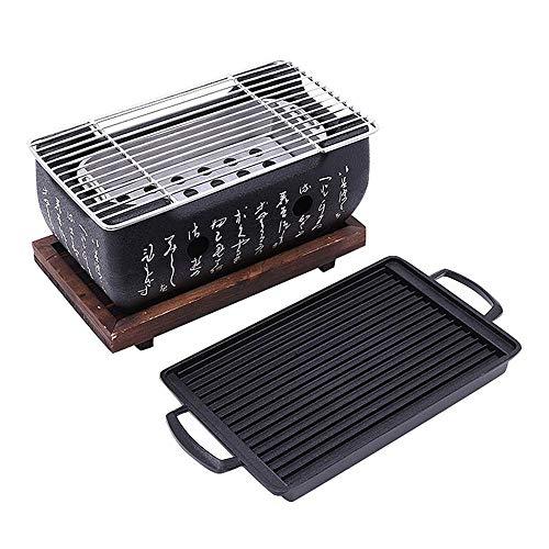 10 Zoll rechteckiger Dia-Tisch-Holzkohlegrill, japanischer Küchenherd - mit Grillrost auf Holzbasis - für Yakiniku Teriyaki Barbecue