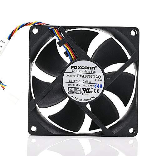 PVA080G12Q Foxconn 12V Fan, 80MM 8025 0.65A 4-pin PWM Temperature Control Super air Volume CPU Fan