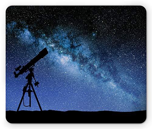 Galaxy Mouse Pad Teleskop Tal Unter Sternenhimmel Milchstraße Atmosphäre Galaxy Astronomie Rechteck Rutschfestes Gummi-Mauspad Standardgröße Blau Schwarz