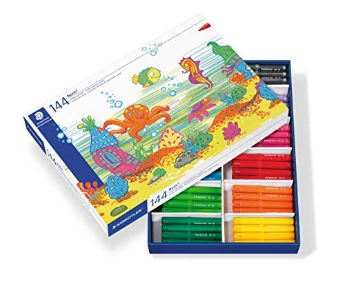 STAEDTLER Noris Club 340 C144. Rotuladores jumbo de colores. Caja con 144 marcadores infantiles de 12 colores variados.