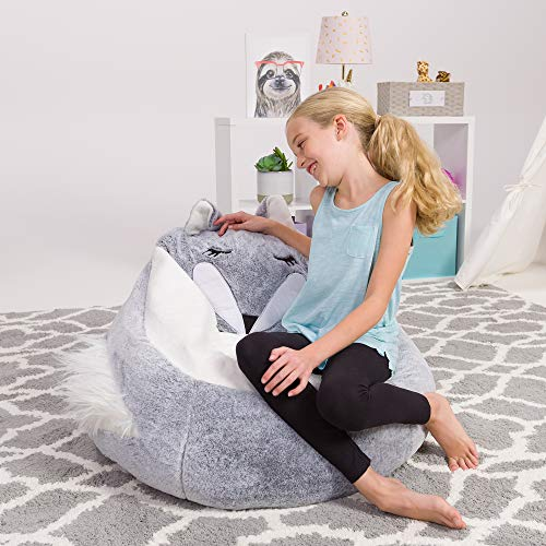 Posh Creations Cute Soft and Comfy Bean Bag Chair for Kids, Large, Animal - Silver Fox