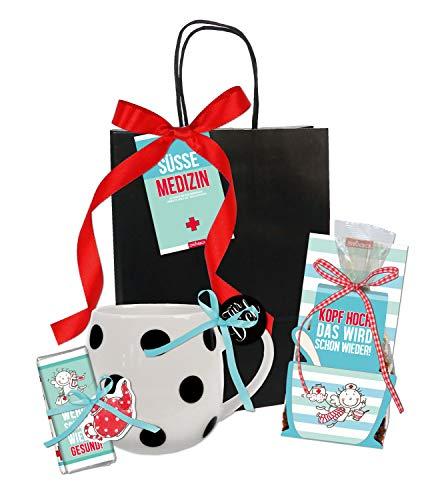 STEINBECK Gute Besserung Geschenk Genesung Präsentkorb Geschenkkorb Geschenktüte Tee Tasse Mini Schokolade Gesundheit süß Kopf hoch
