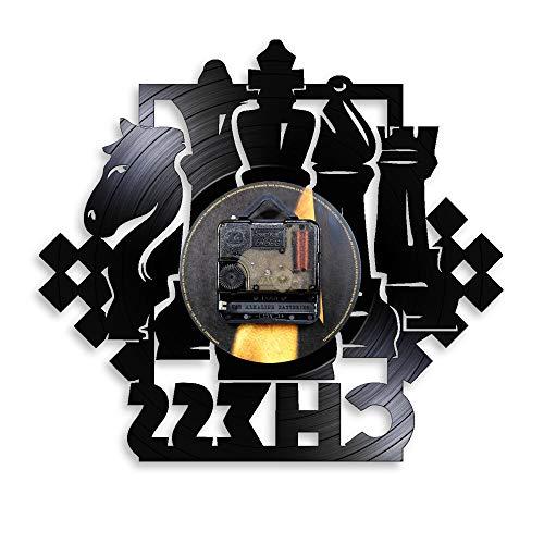 WAGUZA Juego de ajedrez Reloj de Pared artístico Tablero de ajedrez Piezas Negras Jugador de Estrategia Club de ajedrez Reloj de Vinilo Maestro Regalo de los Amantes del ajedrez