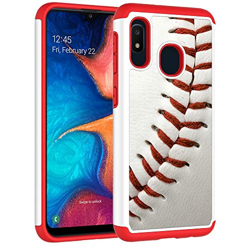 Sunshine - Tech Samsung Galaxy A10e Case - Baseball Sports Pattern Shock-Absorption Hard PC and Inner Silicone Hybrid Dual Layer Armor Defender Protective Case Cover for Samsung Galaxy A10e