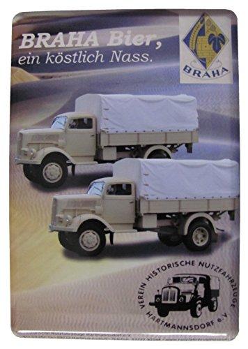Braha Bier - Verein historischer Nutzfahrzeuge Hartmannsdorf - Blechpostkarte mit Umschlag 10 x 14 cm