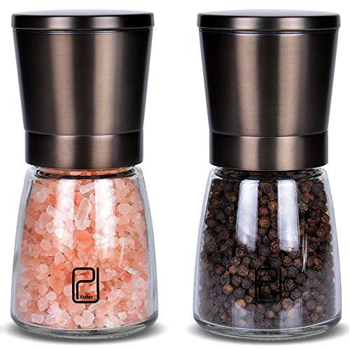 Set Molinillo de Sal y Pimienta - Mejor Acero Inoxidable Negro para Cocineros, Tapas Prcticas, Molinillos de Especias Cermica Lisa con Tosquedad Ajustable, Molinillo de Pimienta
