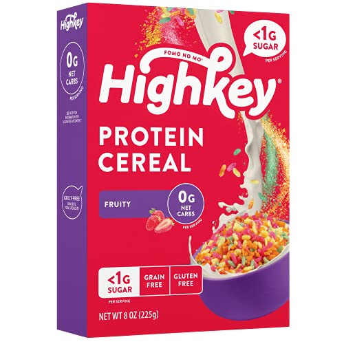 HighKey Protein Snacks - Keto Breakfast Cereal - 0 Net Carb & Zero Sugar, Gluten & Grain Free Cereals Snack Food - Paleo, Diabetic, Ketogenic Diet Friendly Muesli - Healthy Grocery Foods - Fruity
