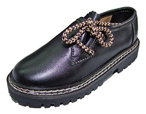 Kinder Trachten Haferlschuhe Nappaleder Schwarz Gr. 30 - Schöne Schuhe für Jungen Halbschuhe zur Trachten Lederhose