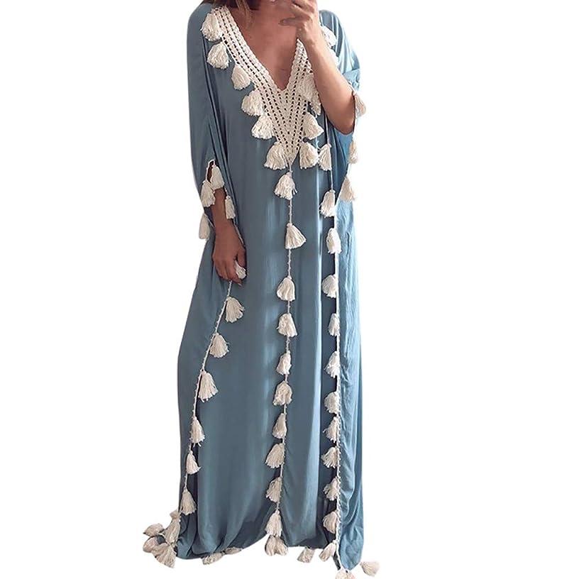 2019 New Women's Stylish Bohemia Long Dress Ethnic Style Tassel Beach Summer Holiday Party Dress