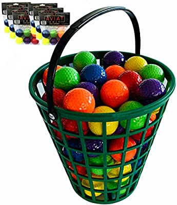 Aviat Bucket O' Colored Golf Balls | Blue, Green, Orange, Yellow, Purple, Red Golf Ball Basket