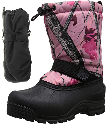 Northside Frosty Winter Girls Snow Boots with Matching Waterproof Gloves, Size: 13 M US Little Kid - Pink Camo (Pink)