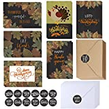 Quantity: Bulk thanksgiving cards with envelopes stickers assortment, including 120 pcs blank holiday cards in 6 designs vintage warm fall leaves turkey in chalkboard background designs (20 pcs each design), 120 pcs matching envelopes in kraft & whit...