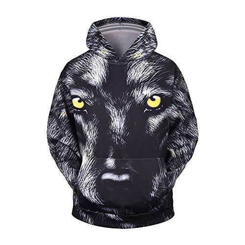 Zuichu Bedrukt sweatshirt, herfst- en winter, wolf, 3D, digitale print, met dop, los, paar met lange mouwen