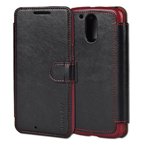 Mulbess Funda Motorola Moto G4 Plus [Libro Caso Cubierta] [En Capas de Billetera Cuero] con Tapa Magnética Carcasa para Motorola Moto G4 / G4 Plus Case, Negro
