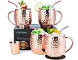 Moscow Mule Copper Mugs, esonmus Set of 4 Handcrafted Copper Mugs for Moscow Mule Cocktail, Food...