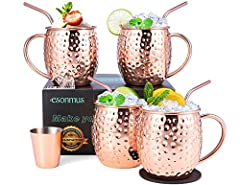🍻Copper Mugs Set of 4: The esonmus copper mugs feature round shaped edges especially for your convenience. we have a gorgeous brass handle for your thumbs comfort, and we have created a fantastic stable base for your mug. We provide: 4 Copper mugs + ...